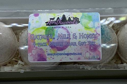 Oatmeal, Milk & Honey 4-pack Bubble Bomb Gift Set