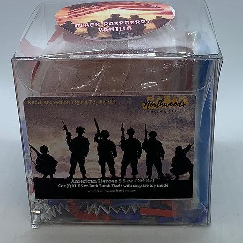 American Heroes (Black Raspberry Vanilla) 5.5 oz Bath Bomb Gift Set