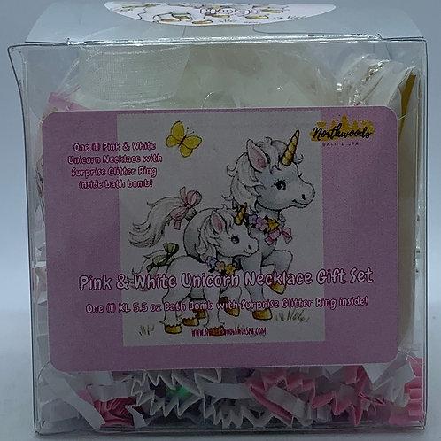 Pink & White Unicorn Necklace & Earrings 5.5 oz Bath Bomb Gift Set (Hugs/Silver)