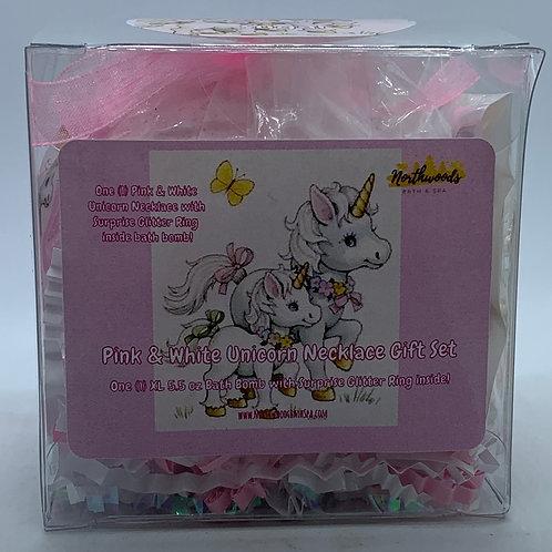 Pink & White Unicorn Necklace/Earrings 5.5 oz Bath Bomb Gift Set (Sugar/RoseGold