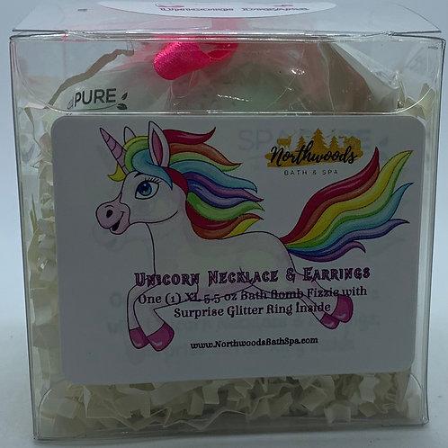Unicorn Necklace & Earrings 5.5 oz Bath Bomb Gift Set