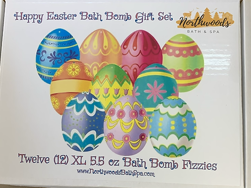 Large 5.5 oz Happy Easter 12-pack Bath Bomb Gift Set