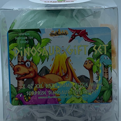 Colossal Dinosaur (Giggles) XXL 8 oz Bath Bomb Gift Set (teal)