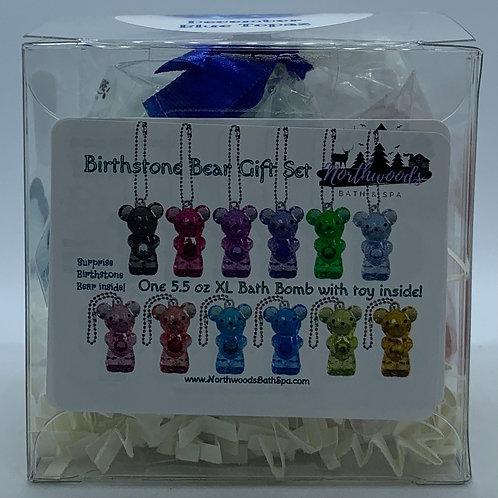 Birthstone Bears Keychain (December) 5.5 oz Bath Bomb Gift Set