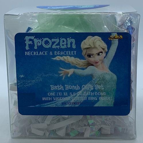 Frozen Necklace & Bracelet 5.5 oz Bath Bomb Gift Set (light blue/wishes)