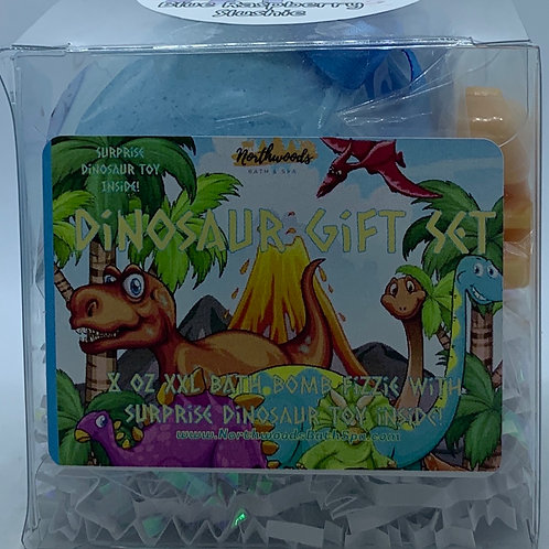 Colossal Dinosaur (Blue Raspberry Slushie) XXL 8 oz Bath Bomb Gift Set (blue)