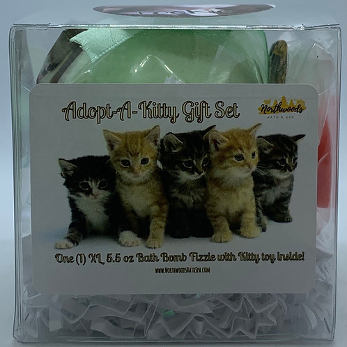 "Adopt-A-Kitty ""Pookie"" 5.5 oz Bath Bomb Gift Set (Cucumber Melon)"