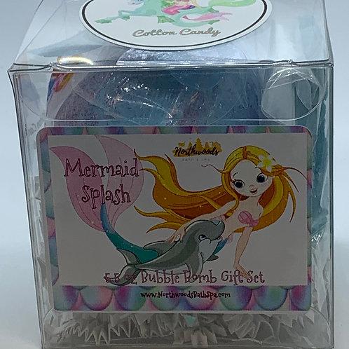 "Mermaid Splash ""Cotton Candy"" 5.5 oz Bubble Bomb Gift Set"