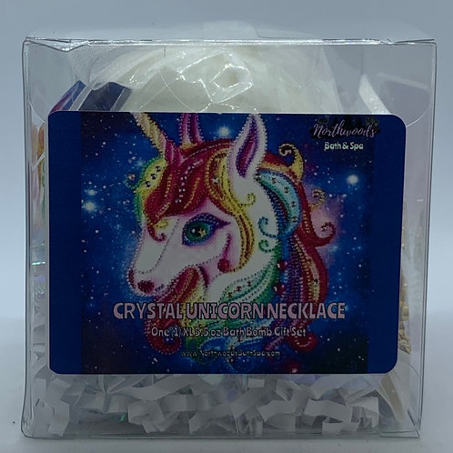 Crystal Unicorn Necklace 5.5 oz Bath Bomb Gift Set (white/silver/hugs)