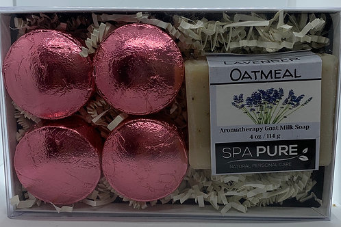 Lavender Oatmeal 4-pack Shower Steamers & Aromatherapy Soap Gift Set