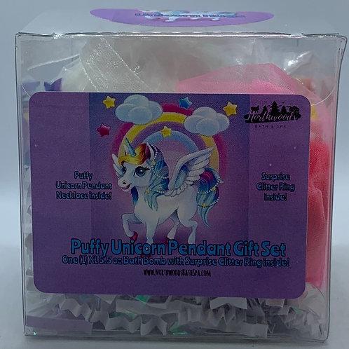 Puffy Unicorn Pendant Necklace 5.5 oz Bath Bomb Gift Set (Dark Pink/Hugs)