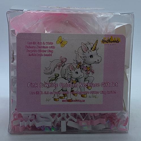Pink & White Unicorn Necklace & Earrings 5.5 oz Bath Bomb Gift Set (Sugar/Gold)