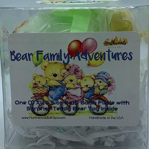 """Alfredo"" Bear Family Adventures (Cucumber Melon) 5.5 oz Bath Bomb Gift"