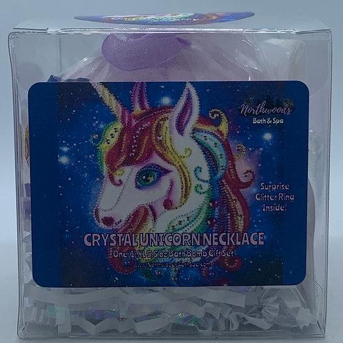 Crystal Unicorn Necklace 5.5 oz Bath Bomb Gift Set (multi-color/silver/berry)