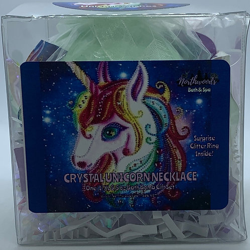 Crystal Unicorn Necklace 5.5 oz Bath Bomb Gift Set (white/silver/wishes)