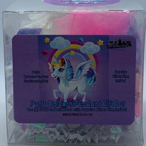 Puffy Unicorn Pendant Necklace 5.5 oz Bath Bomb Gift Set (Blue/Hugs)