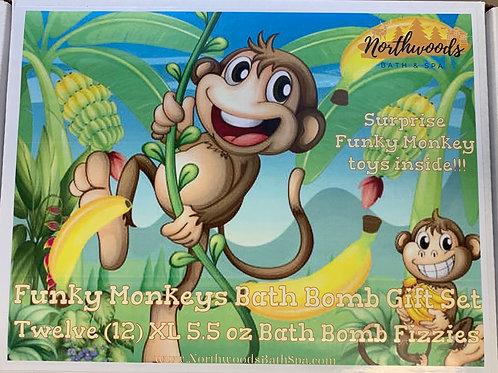 Large 5.5 oz Funky Monkeys 12-pack Bath Bomb Gift Set