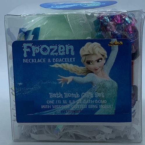 Frozen Necklace & Bracelet 5.5 oz Bath Bomb Gift Set (teal/wishes)