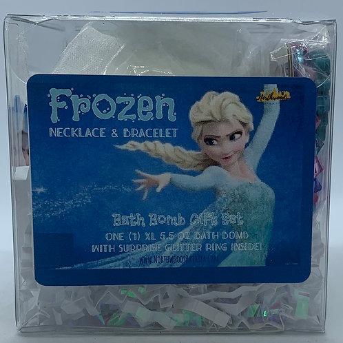 Frozen Necklace & Bracelet 5.5 oz Bath Bomb Gift Set (teal/hugs)