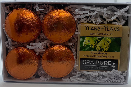 Ylang-Ylang 4-pack Shower Steamer & Aromatherapy Whipped Cream Soap Gift Set
