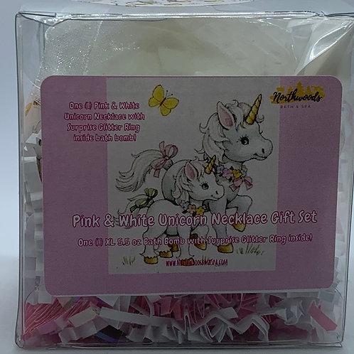 Pink & White Unicorn Necklace/Earrings 5.5 oz Bath Bomb Gift Set (Hugs/RoseGold)
