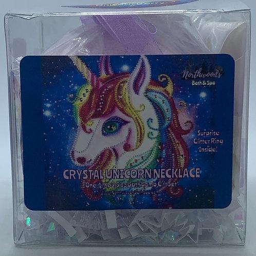 Crystal Unicorn Necklace 5.5 oz Bath Bomb Gift Set (multi-color/gold/berry)