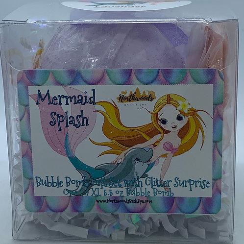 """Mermaid Splash """"Lavender"""" 5.5 oz Bubble Bomb Gift Set"""