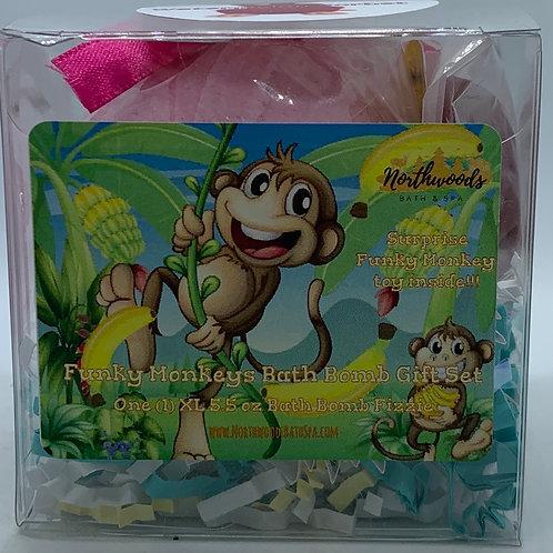 Funky Monkeys (Watermelon Sorbet) 5.5 oz Bath Bomb Gift Set