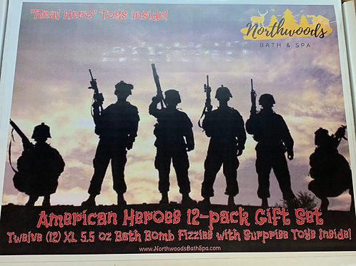 Large 5.5 oz American Heroes 12-pack Bath Bomb Gift Set (b)