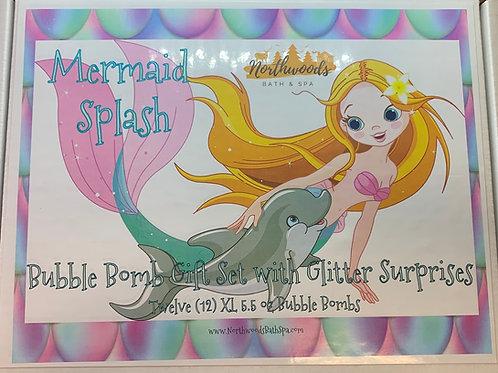 Large 5.5 oz Mermaid Splash 12-pack Bubble Bomb Gift Set