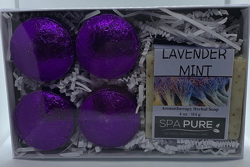 Lavender Mint 4-pack Shower Steamers & Aromatherapy Herbal Soap Gift Set