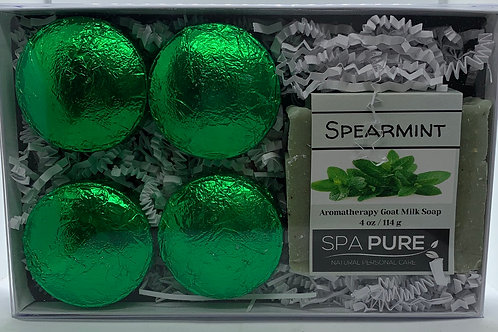 Spearmint 4-pack Shower Steamers & Aromatherapy Goat Milk Soap Gift Set