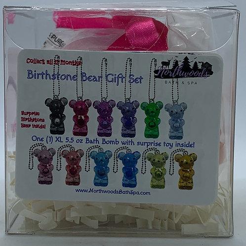 Birthstone Bears Keychain (February) 5.5 oz Bath Bomb Gift Set