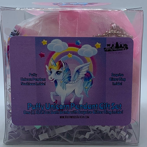 Puffy Unicorn Pendant Necklace 5.5 oz Bath Bomb Gift Set (Pink/Sugar)