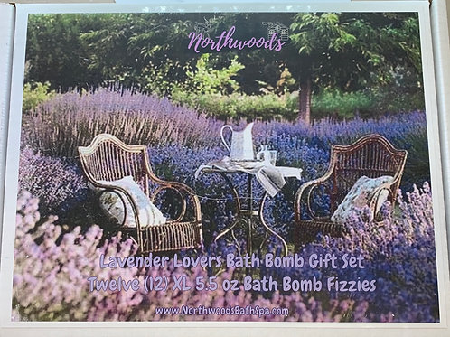 Large 5.5 oz Lavender Lovers 12-pack Bath Bomb Gift Set