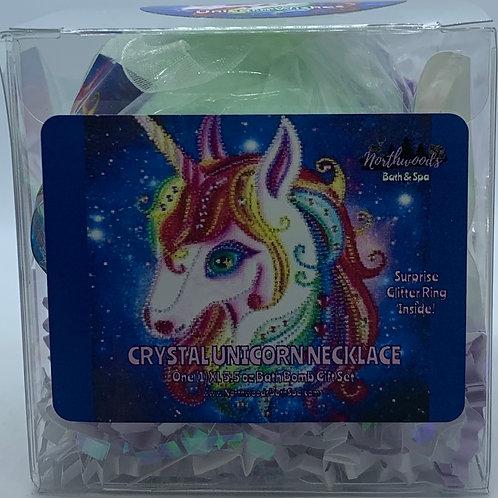 Crystal Unicorn Necklace 5.5 oz Bath Bomb Gift Set (multi-color/silver/wishes)