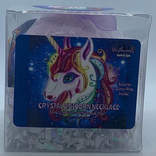 Crystal Unicorn Necklace 5.5 oz Bath Bomb Gift Set (white/silver/berry)