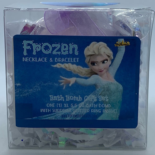 Frozen Necklace & Bracelet 5.5 oz Bath Bomb Gift Set (light blue/berry)