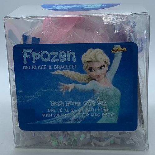 Frozen Necklace & Bracelet 5.5 oz Bath Bomb Gift Set (light blue/candy)