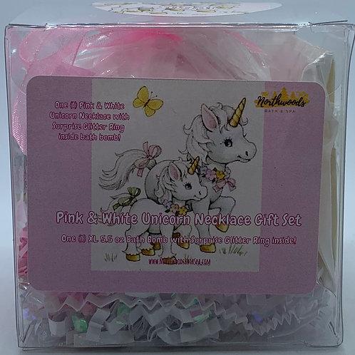 Pink & White Unicorn Necklace/Earrings 5.5 oz Bath Bomb Gift Set (Sugar/Silver)