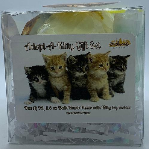 """Adopt-A-Kitty """"Buttercup"""" 5.5 oz Bath Bomb Gift Set (Georgia Peach)"""