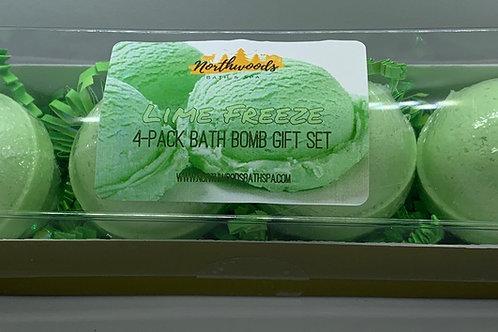 Lime Freeze 4-pack Bath Bomb Gift Set