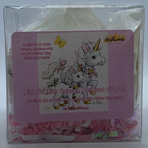 Pink & White Unicorn Necklace & Earrings 5.5 oz Bath Bomb Gift Set (Hugs/Gold)
