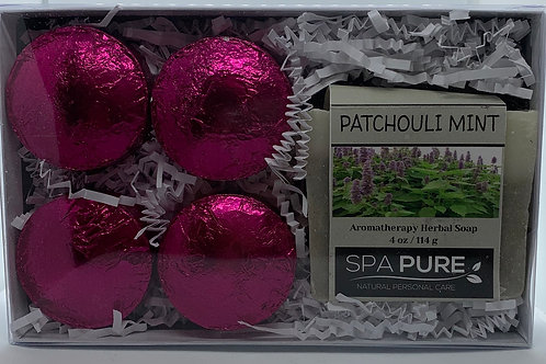 Patchouli Mint 4-pack Shower Steamers & Aromatherapy Herbal Soap Gift Set