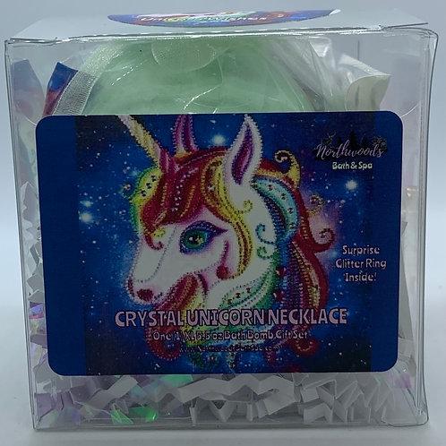 Crystal Unicorn Necklace 5.5 oz Bath Bomb Gift Set (multi-color/gold/wishes)