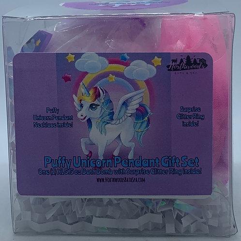 Puffy Unicorn Pendant Necklace 5.5 oz Bath Bomb Gift Set (Purple/Berry)