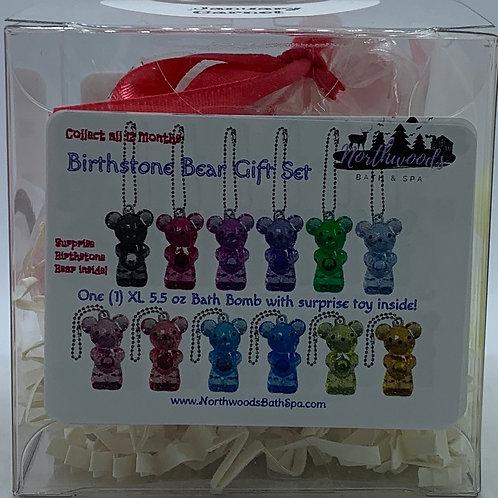 Birthstone Bears Keychain (January) 5.5 oz Bath Bomb Gift Set