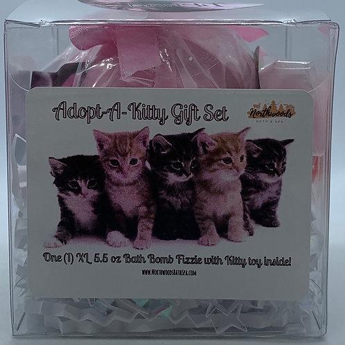 "Adopt-A-Kitty ""Bandit"" 5.5 oz Bath Bomb Gift Set (Cherry Slush)"
