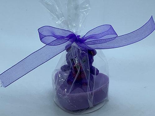 """Squishy Purple Teddy Bear 1 oz """"Snuggable"""" Soap"""