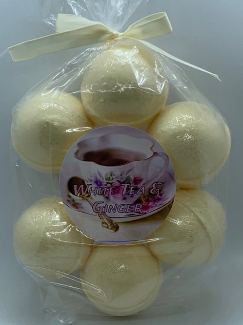 White Tea & Ginger 7-pack Bath Bomb Fizzies